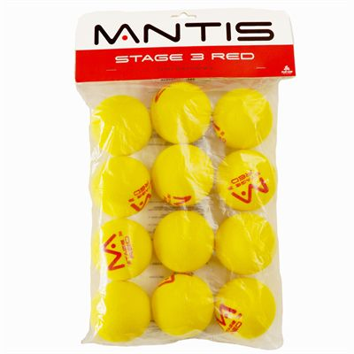 Mantis Red Foam Tennis Balls - 12 Pack
