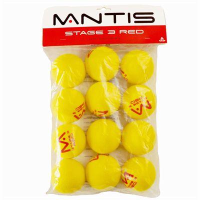 Mantis Red Foam Tennis Balls - 12 Pack