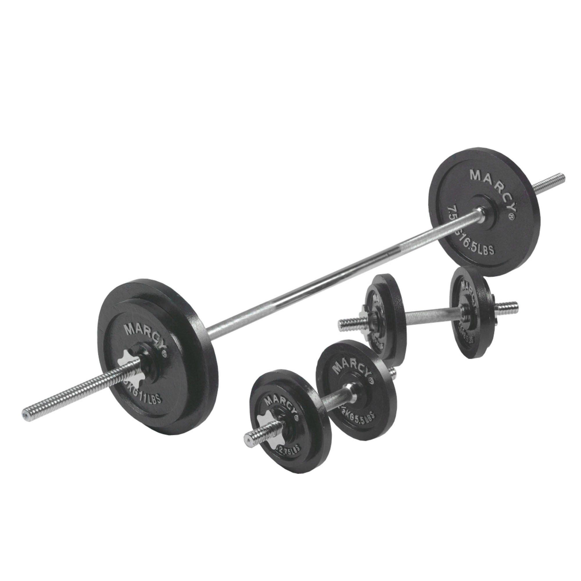 Dumbbell Set Up To 50: Marcy 50kg Cast Iron Barbell And Dumbbell Set