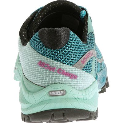 Merrell All Out Charge Ladies Running Shoes-Blue-Green-Back