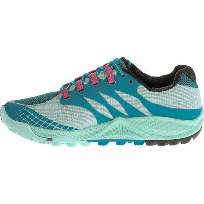 Merrell All Out Charge Ladies Running Shoes-Blue-Green-Side