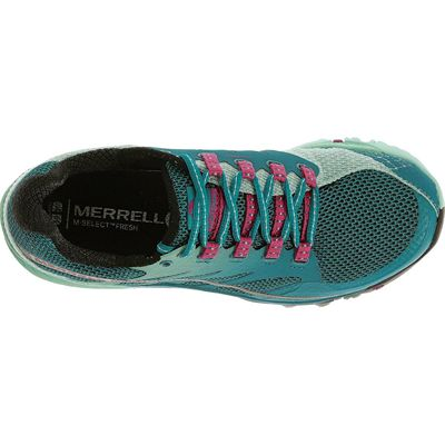 Merrell All Out Charge Ladies Running Shoes-Blue-Green-Top