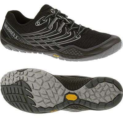 Merrell Trail Glove 3 Mens Running Shoes-Black and Grey-Main Image