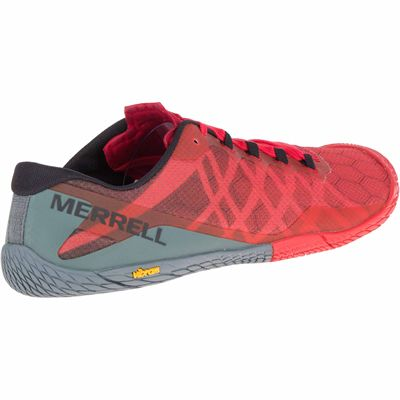 Merrell Vapor Glove 3 Mens Running Shoes - Red - Side - Angled