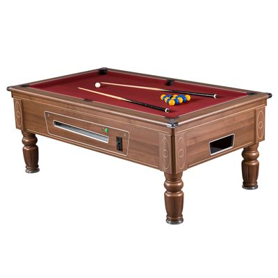 Mightymast 6ft Prince Slate Bed English Pool Table walnut red