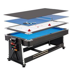 Mightymast 7ft Revolver 3-in-1 Pool, Air Hockey and Table Tennis Table