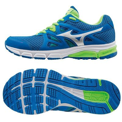 Mizuno Synchro MD Mens Running Shoes-Blue-Silver-Green