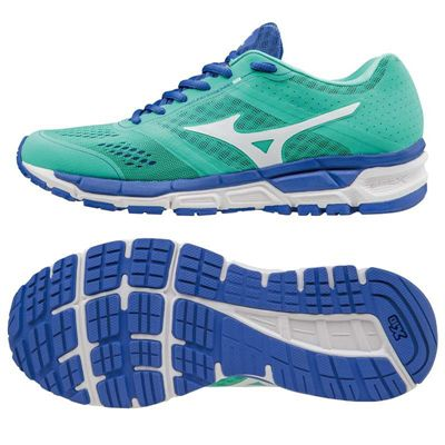 Mizuno Synchro MX Ladies Running Shoes-Green-White-Blue
