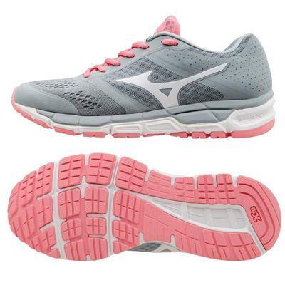 Mizuno Synchro MX Ladies Running Shoes-Grey-White-Pink