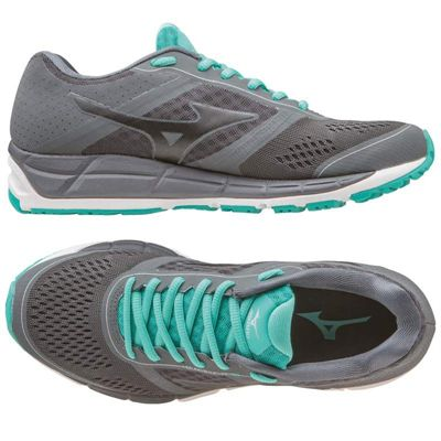 Mizuno Synchro MX Ladies Running Shoes-Grey-Black-Blue-Alternative View