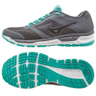 Mizuno Synchro MX Ladies Running Shoes-Grey-Black-Blue-Main Image