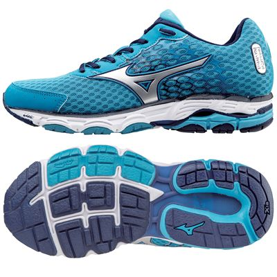 Mizuno Wave Inspire 11 Ladies Running Shoes-Blue And Silver