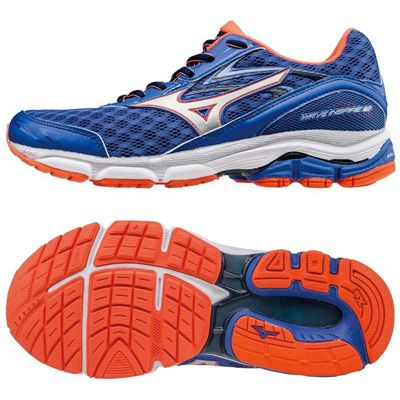 Mizuno Wave Inspire 12 Ladies Running Shoes-Blue-Silver-Orange