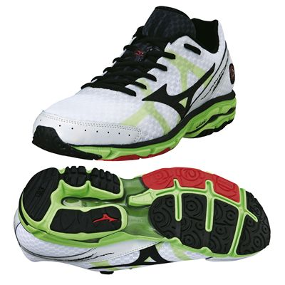 Mizuno Wave Rider 17 Mens Running Shoes 2014 - White/Black/Green