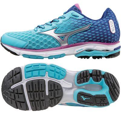 Mizuno Wave Rider 18 Ladies Running Shoes-Blue Silver