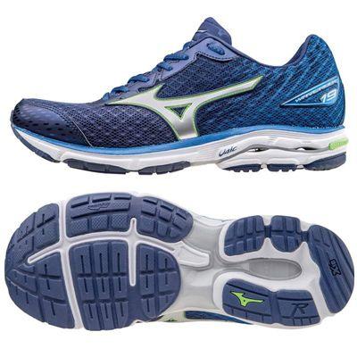 Mizuno Wave Rider 19 Mens Running Shoes-Blue-Silver-Green