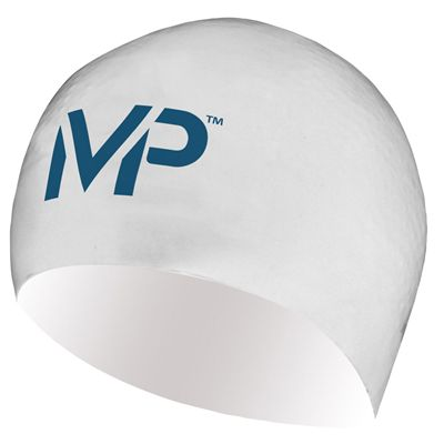 MP Michael Phelps Race Swimming Cap-White/Navy