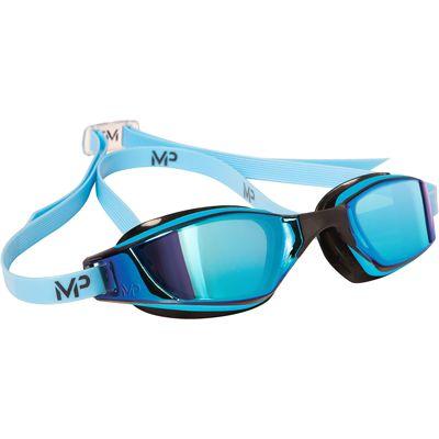 MP Michael Phelps Xceed Swimming Goggles-Blue Titanium Mirror Lens-Blue/Black