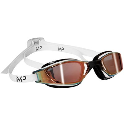 MP Michael Phelps Xceed Swimming Goggles-Gold Titanium Mirror Lens-White-Black
