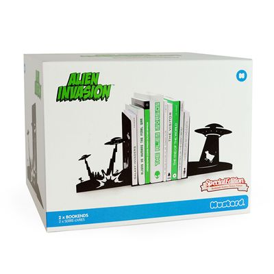 Mustard Alien Invasion Monster Bookends - Pack of 2 - Box Image