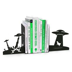 Mustard Alien Invasion Monster Bookends