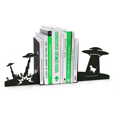 Mustard Alien Invasion Monster Bookends - Pack of 2 - In Use