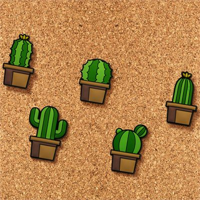 Mustard Cactus Push Pins - Pack of 5 - Board