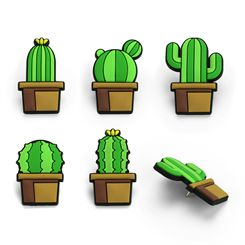 Mustard Cactus Push Pins - Pack of 5