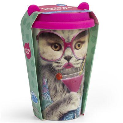 Mustard Cat Coffee Crew Reusable Coffee Cup - Packaging
