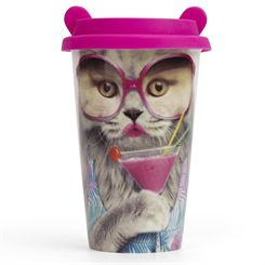 Mustard Cat Coffee Crew Reusable Coffee Cup