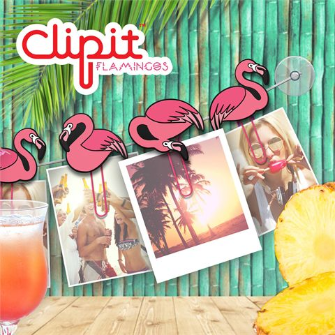 Mustard ClipIt Flamingos Picture Hangers