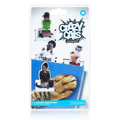 Mustard Crazy Cats Magnetic Bookmarks-Packaging