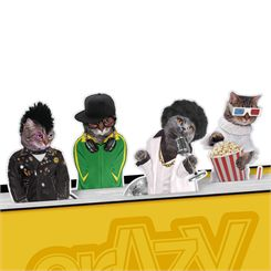 Mustard Crazy Cats Magnetic Bookmarks
