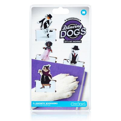 Mustard Dancing Dogs Magnetic Bookmarks-Packaging