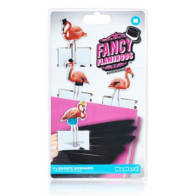 Mustard Fancy Flamingos Magnetic Bookmarks-Packaging