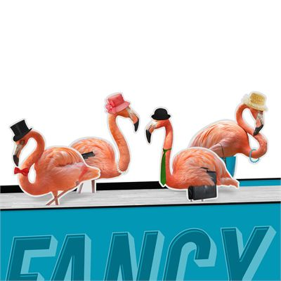 Mustard Fancy Flamingos Magnetic Bookmarks