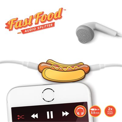 Mustard Fast Food Hot Dog Headphone Splitter-Main Image