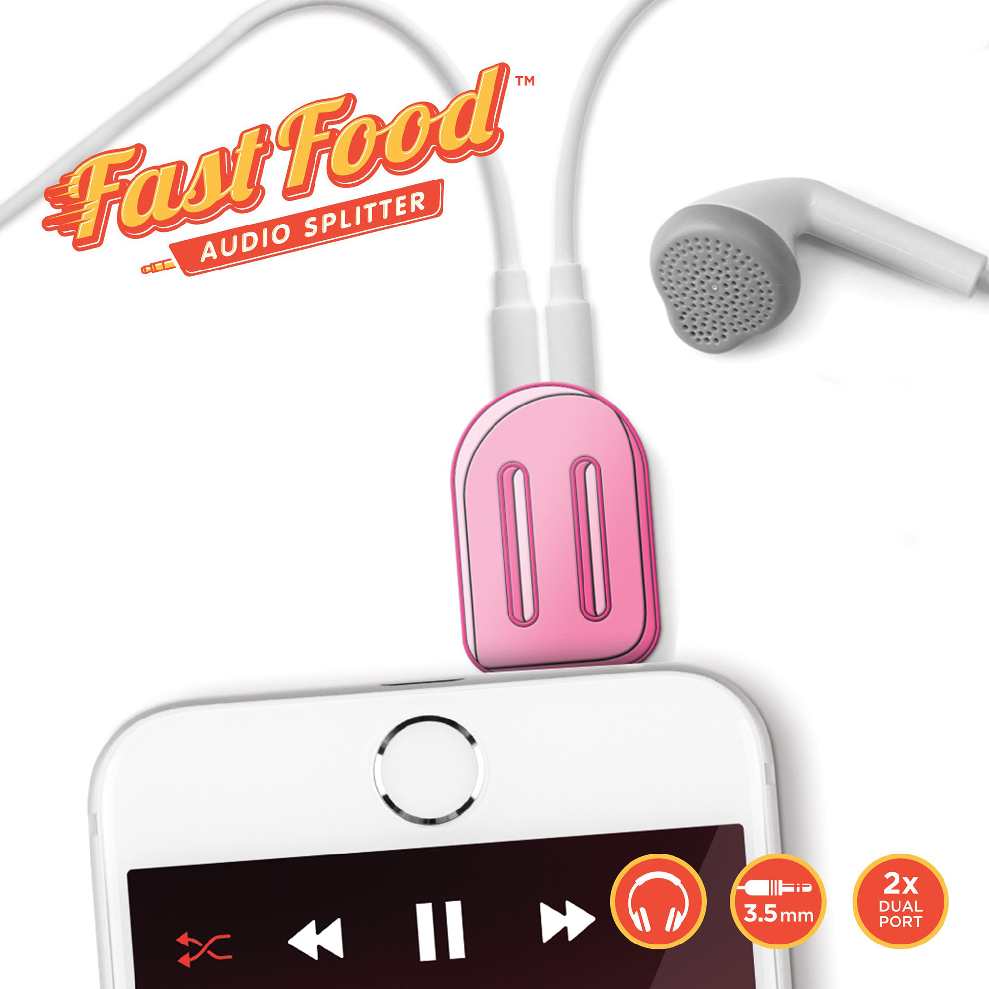 Mustard Fast Food Lolly Headphone Splitter