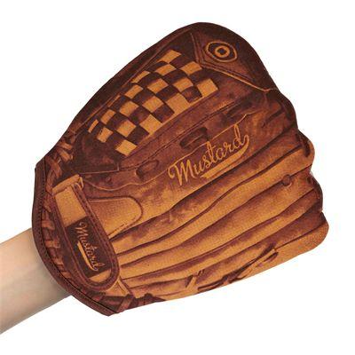 Mustard Home Run Baseball Oven Glove-In Use
