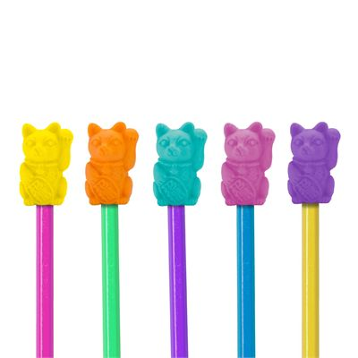 Mustard Lucky Cat Eraser Toppers-In Use