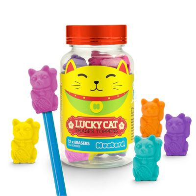 Mustard Lucky Cat Eraser Toppers