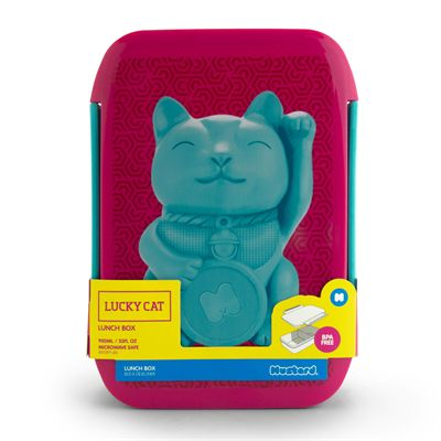 Mustard Lucky Cat Lunch Box - Front