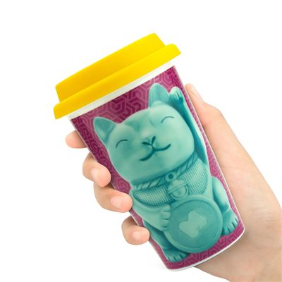 Mustard Lucky Cat Reusable Double Wall Coffe Cup - In Use