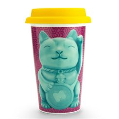 Mustard Lucky Cat Reusable Double Wall Coffee Cup