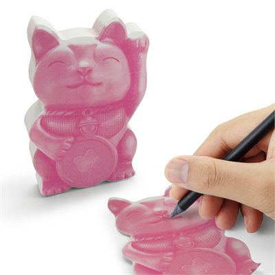 Mustard Lucky Cat Sticky Notes - In Use