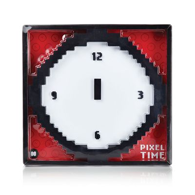 Mustard Pixel Time Pixelated Wall Clock - Package