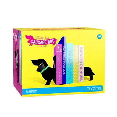 Mustard Really Long Sausage Dog Bookends Box