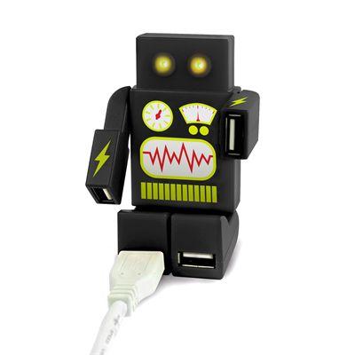 Mustard RoboHub 2000 Four Ports USB Hub-Black-Connected