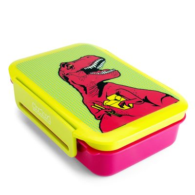 Mustard T-Rex Lunch Box - Angled