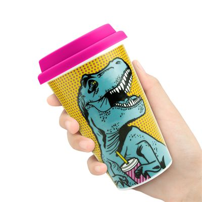 Mustard T-Rex Reusable Double Wall Coffe Cup - In Hand